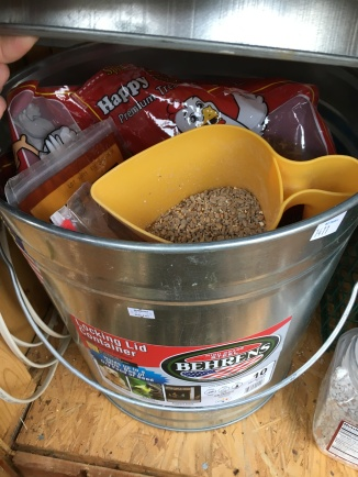 The scratch bucket with other goodies like mealworms, flax seeds and oat and raisin mixes.